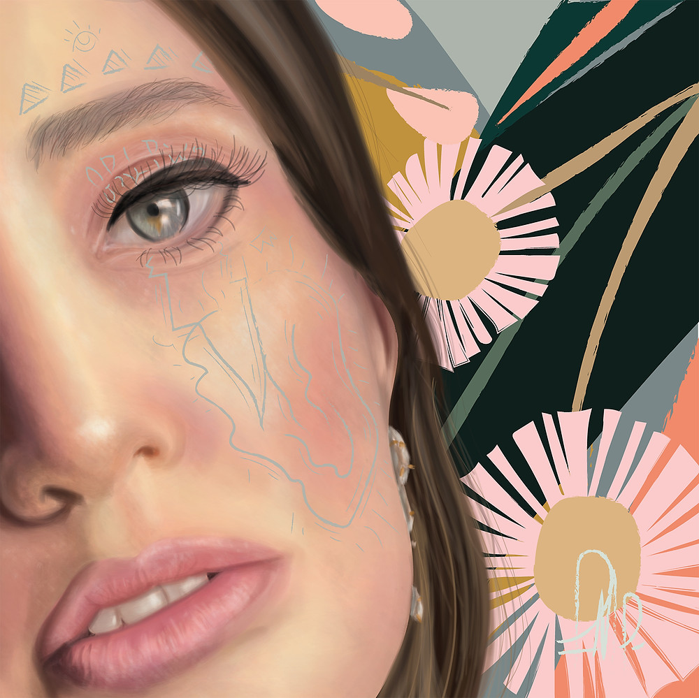 Alice - Alice is a commissioned digital painting portrait made to reflorish the beauty of the painted one, in which also through signs and other elements, aims to add self reflections about in a semiotic way.