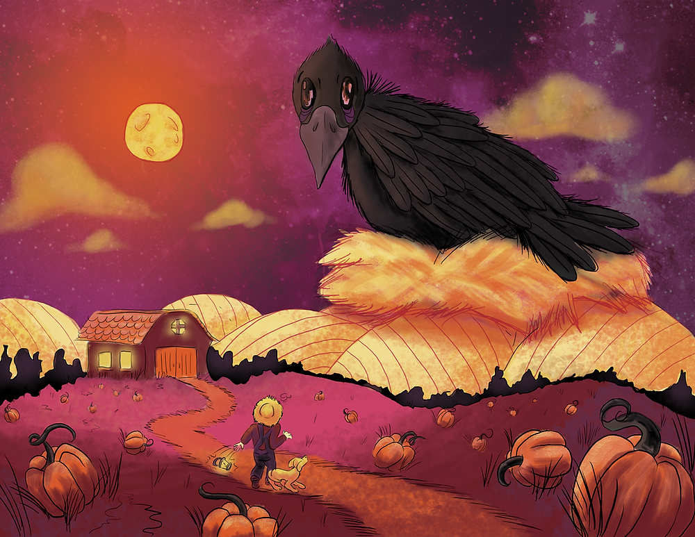 """""""FallCrow Mishap"""" is adigital illustrationof a surreal moment lost in time that takes placeon a countryfarm. Confusion and curiousityarise with a textured scene of a monstrous crow invadinga farmer's plantation."""