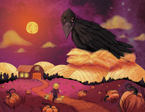 """Fall	Crow Mishap"" is a	digital illustration	of a surreal moment lost in time that takes place	on a country	farm. Confusion and curiousity	arise with a textured scene of a monstrous crow invading	a farmer's plantation."