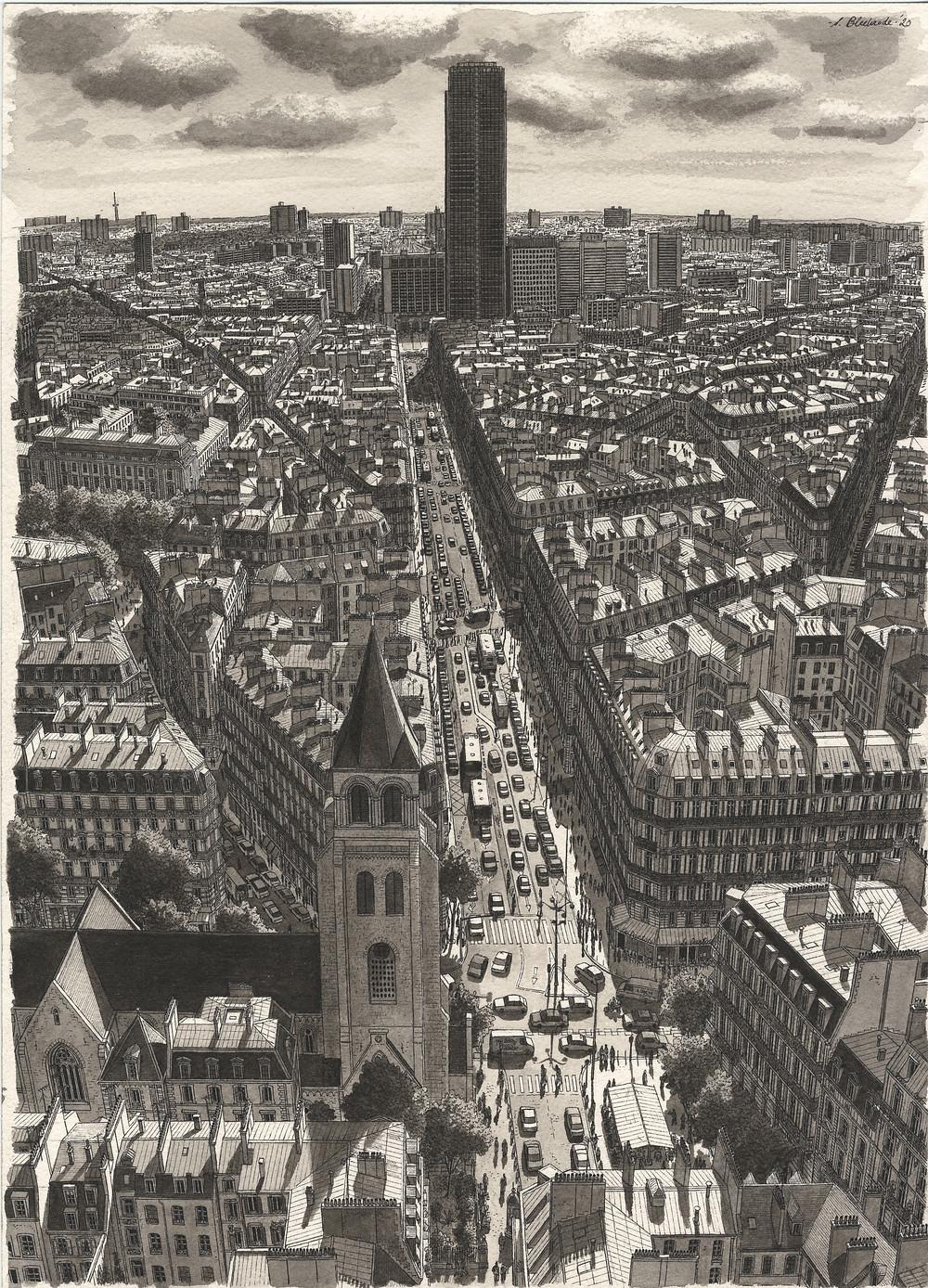 Paris, Rue de Rennes, 2020. Ink and watercolour on paper, 35x25cm.
