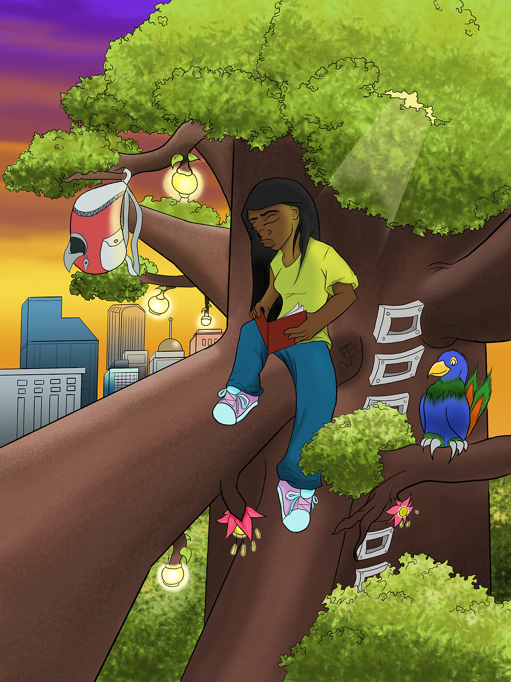 Magic tree: This picture was one of the first digital pieces I've ever made. Prior to this, all of what I drew was on spiral notebook I kept in my backpack in high school. I always stayed in the library reading and drawing so I wanted to draw something magical that kind of depicted what I did. The girl is in the tree outside the city enjoying her books in nature. It's similar to how I spent much of my time as well, outside reading or drawing.