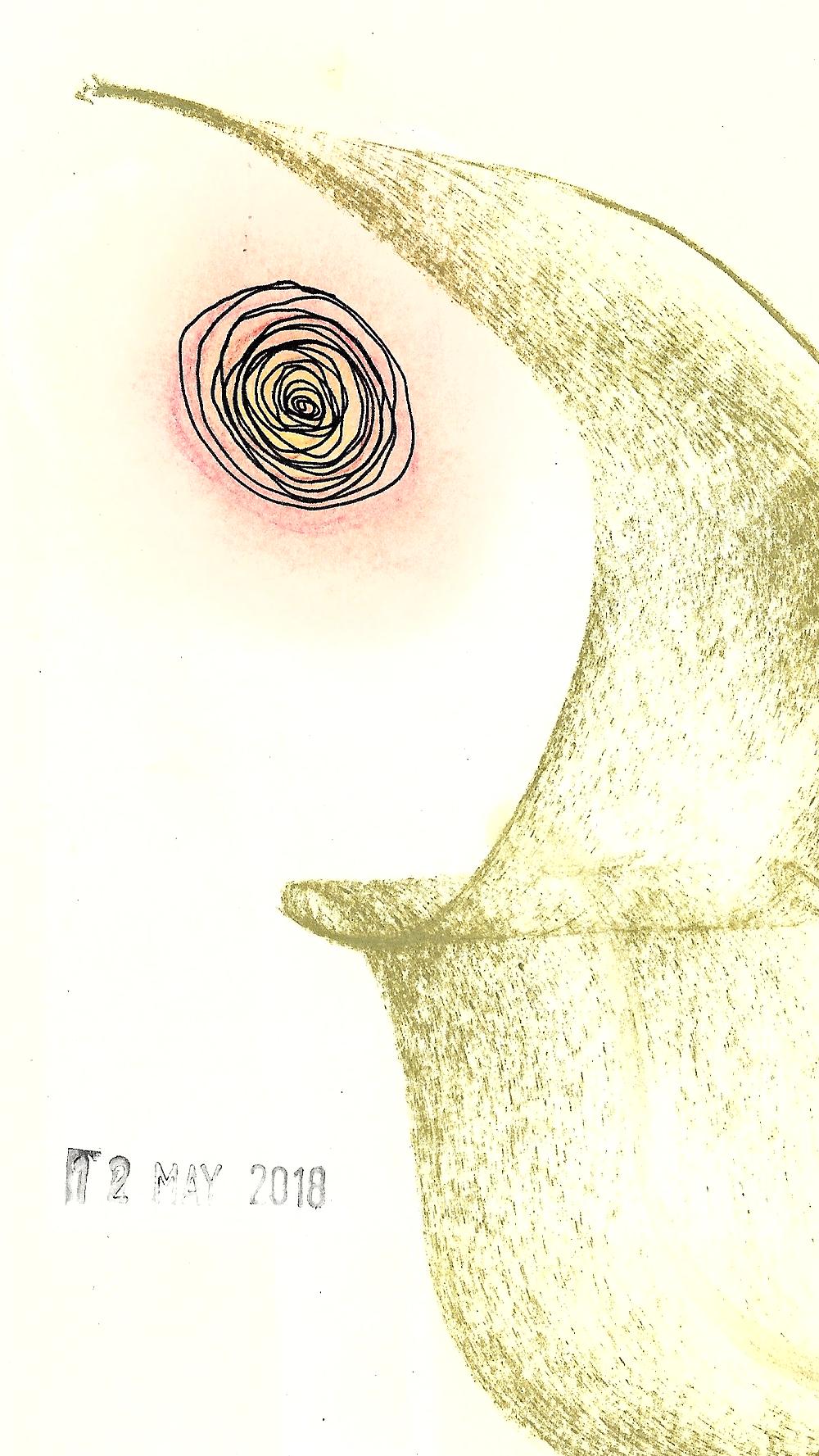"""Spiral"" | Carlos Herrera | Mixed media | 10.4 x 18.2 cms | 2018"