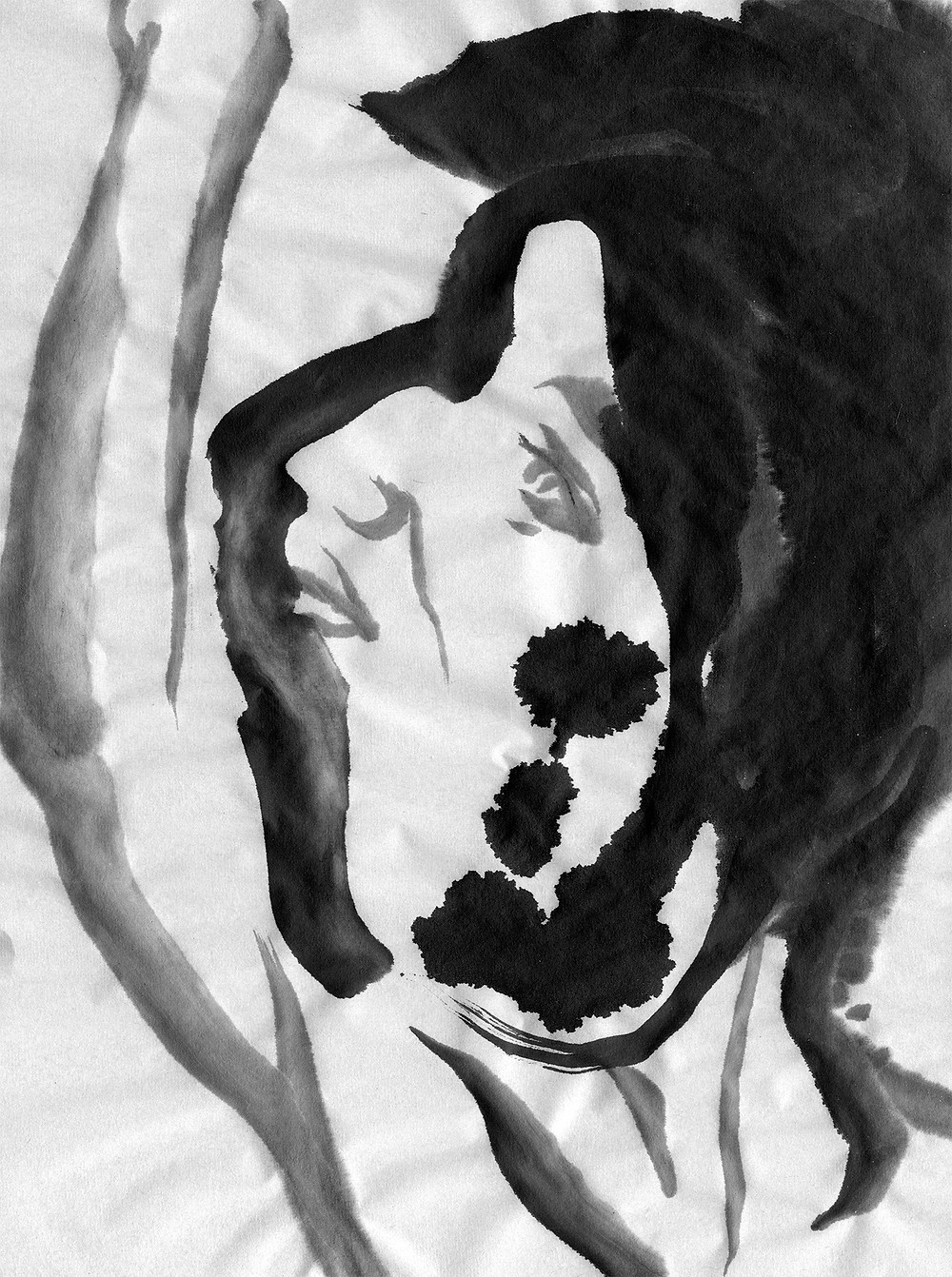 "This is an ink wash portrait.  Chinese Calligraphy ink on Japanese Calligraphy paper.  9""x13"", 2018."