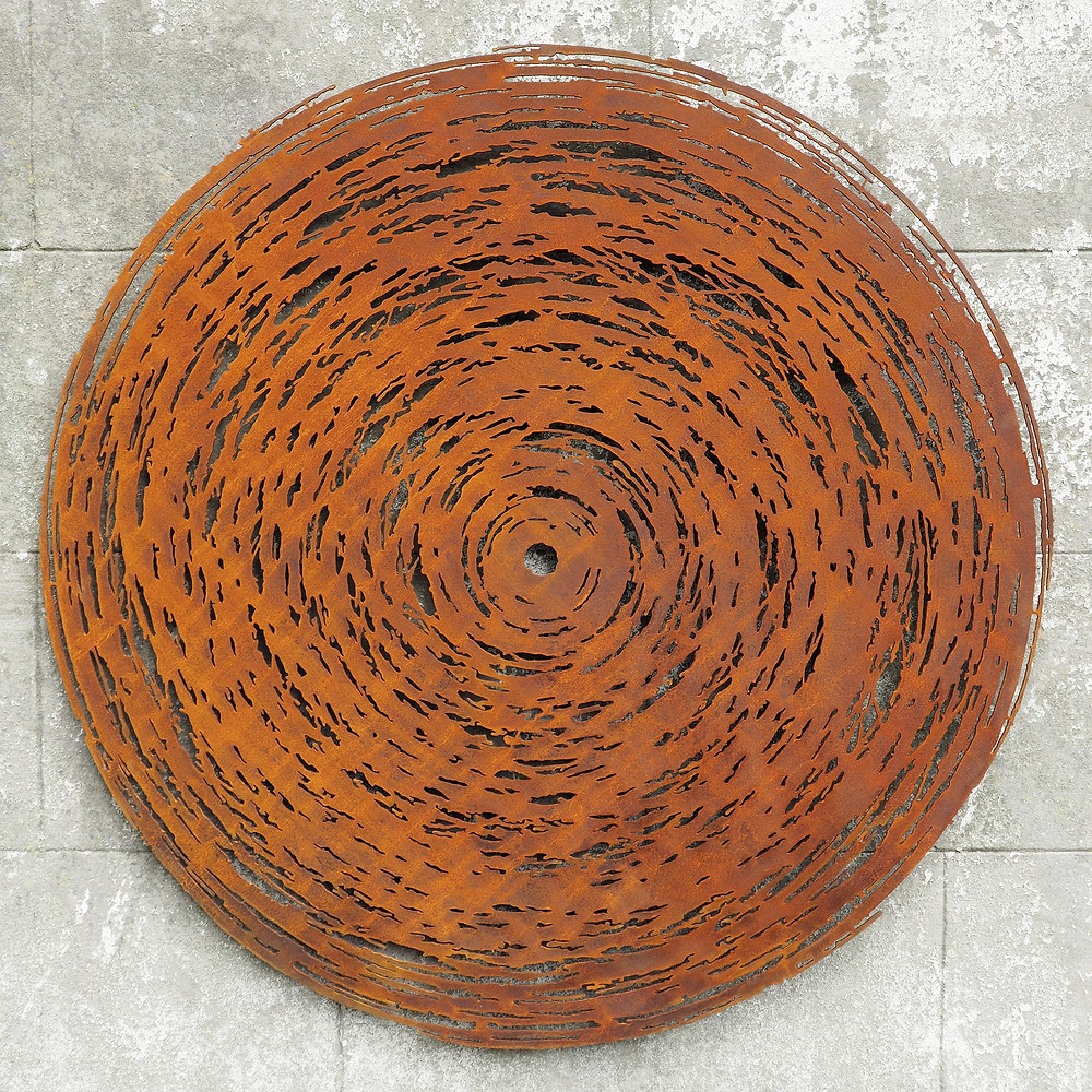 Cyclone Inspired by the power of nature, 'Cyclone' is a 1 metre corten weathering steel wall sculpture for indoors or out.