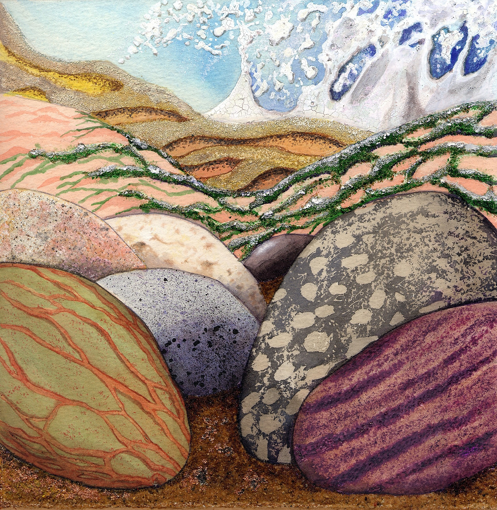 Pebbles on a Shore - A mixed media semi-abstract study of the textures on a shoreline, including seaweed, and drifts and furrows of sand