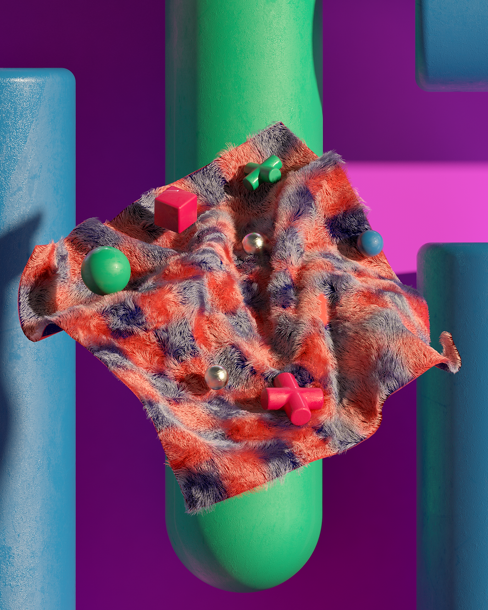 03_Cloth_Hair_01: After spending some time using 3D software to create my art, I have always been trying to recreate real-world materials within my work. I managed to make my own hair/fur textures with this piece. The idea was to show the balance between real-life materials alongside my toy-like world.