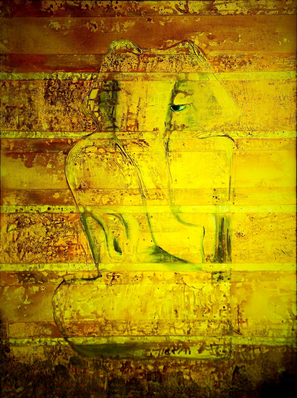 "KAPILAYA- THE YELLOWISH BROWN HUED LORD  This is an artwork depicting THE ELEPHANT GOD - known as Ganesha in Vedic Hindu Mythology. The artist describes her process of making this artwork as an emotional connect in her words  ""When love is what you seek! You callout, You search, You admire! Worshiping a Deity, is almost like building a human relationship, here the attribute of KAPILAYA is a form dipped in sheer yellow! The Hue of ""Turmeric"", a sacred offering to the lord! I recall painting this, with pots of yellow like bathing the lord in sacred turmeric waters, it was paint was all over the table and the floor... i was walking in it bare feet... around the painting regulating the flow of the paint a lemon hue over the chrome, with ocher and the burntseinnas... wiping,  sponging,,, splattering little did i know it was emergence of KAPILAYA! Till he manifested!! I now feel a part of him at times!"""