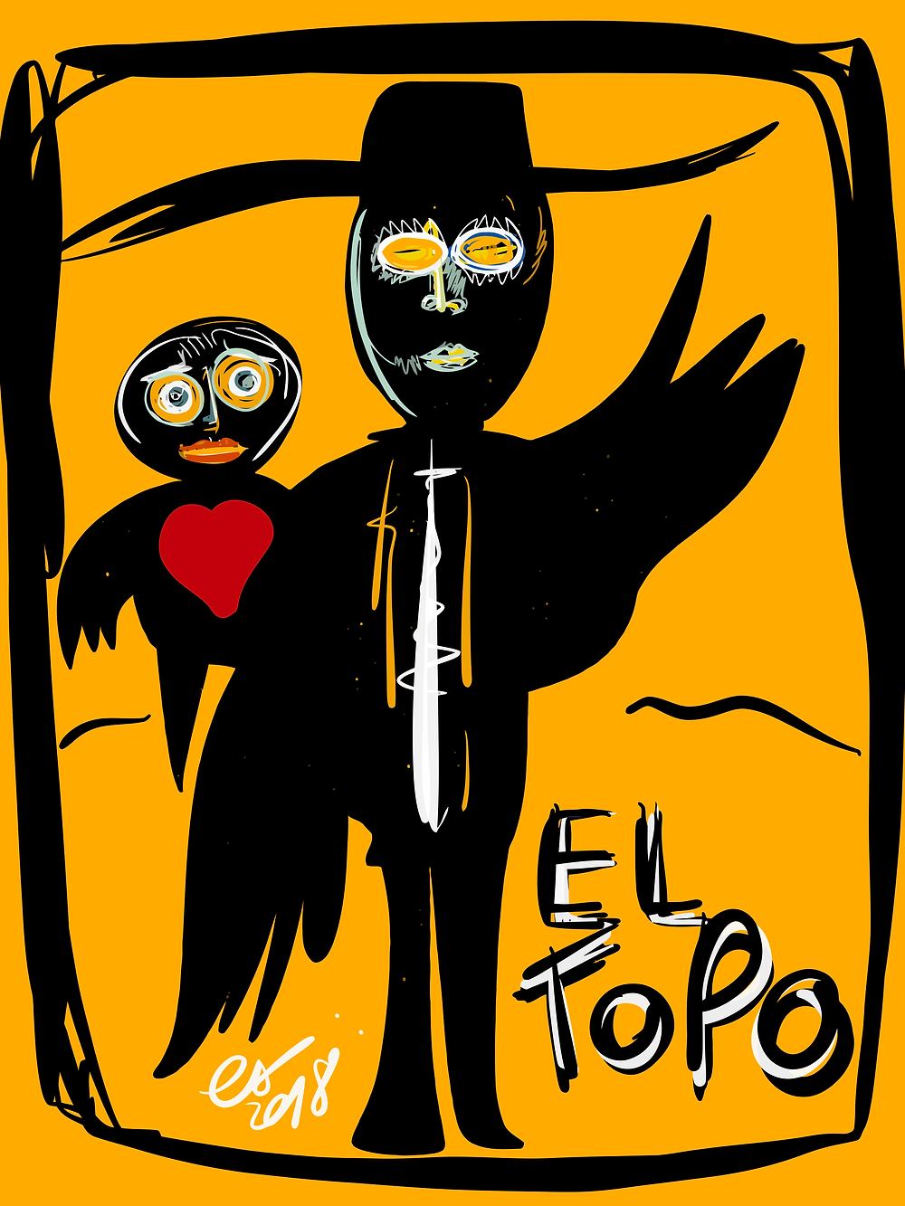 """El Topo"" Painted on iPad with Paper53 was inspired by the movie of Jodorowsky. I love the sweet madness and dreaming universe of this man."