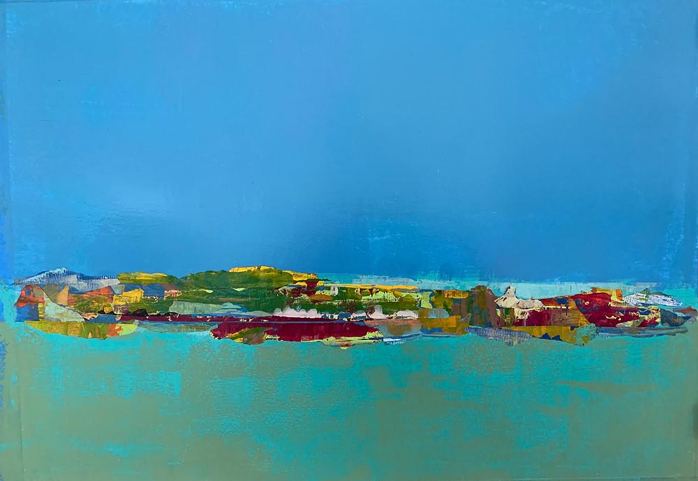 Rainstorm Over Ischia, Acrylic on 300 g/m2 vellum surface paper, 24x18