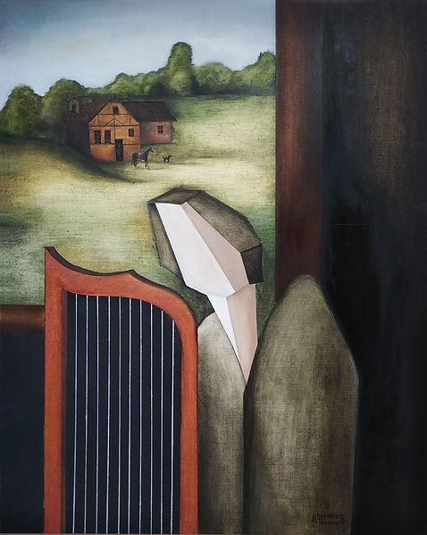 Angel playing the harp by the open windo