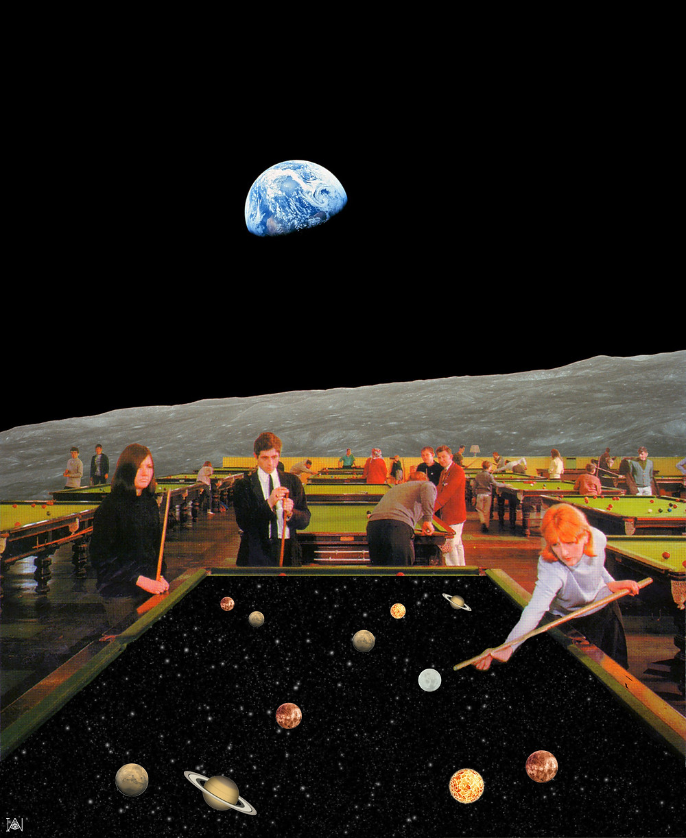 'Cosmic games' Sometimes my art is not being born from an idea and then searching for visuals, sometimes it's bumping into a photo and doing something fun with it. 'Cosmic games' is one of them. I found this retro picture of people playing pool and decided to take it outer space. The background image is actually a famous picture by NASA called 'Earthrise'.
