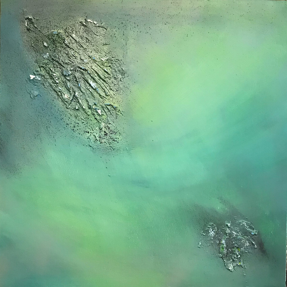 Abstract painting on stretched canvas in green and grey (50cm by 50cm). Lots of texture.