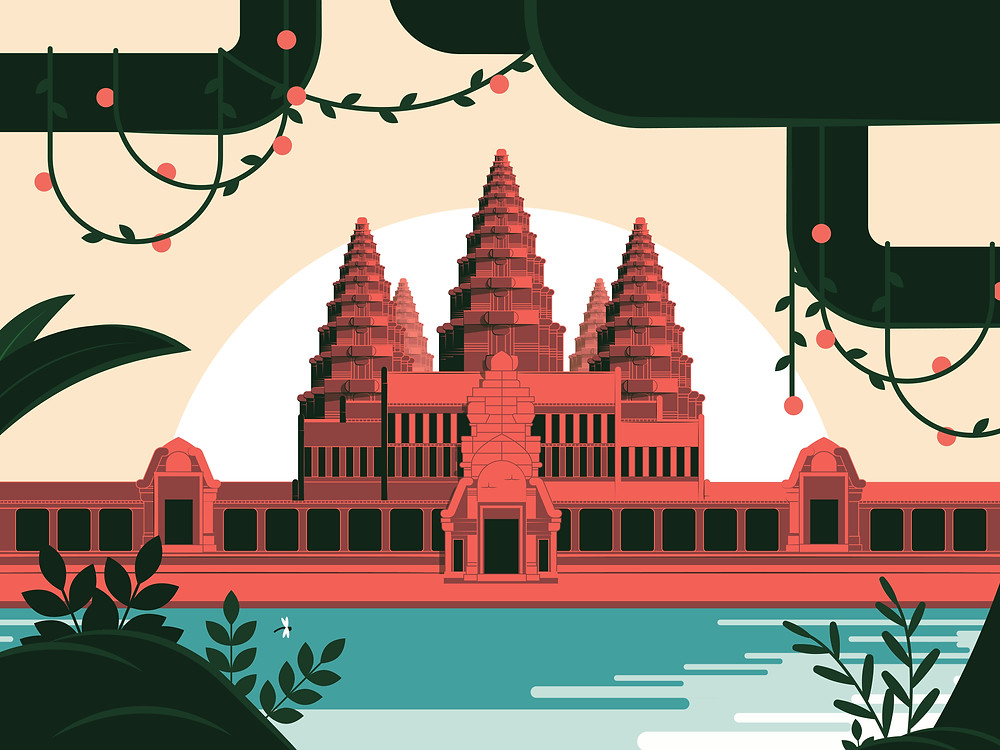 """Angkor Wat Khmer temple in Siem Reap. UNESCO protected world wonder, in the beautiful hot season of Southeast Asian. This artwork is a part of my series """"Flat-design, Cambodian folk"""" specially made to create a modern representation of Khmer culture."""