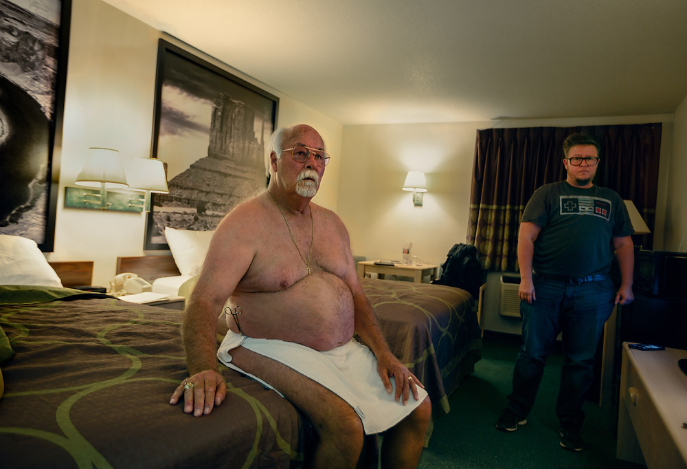 """""""The Room in Blanding, Utah"""" (2018) by T. Chick McClure A room capture of Chick and his father in their room in Blanding, Utah. (TCHICKMCCLURE-JaamZINFeature-Blanding.jpg)"""