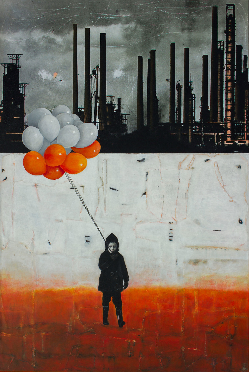 LIFT ME UP III; A boy is walking outside with his balloons, trying to escape the gloomy reality in which he lives. I have printed a photograph, of my original artwork on paper, on canvas. The printed image is layered over with paper and acrylic paint, so there has been created a completely new original artwork.