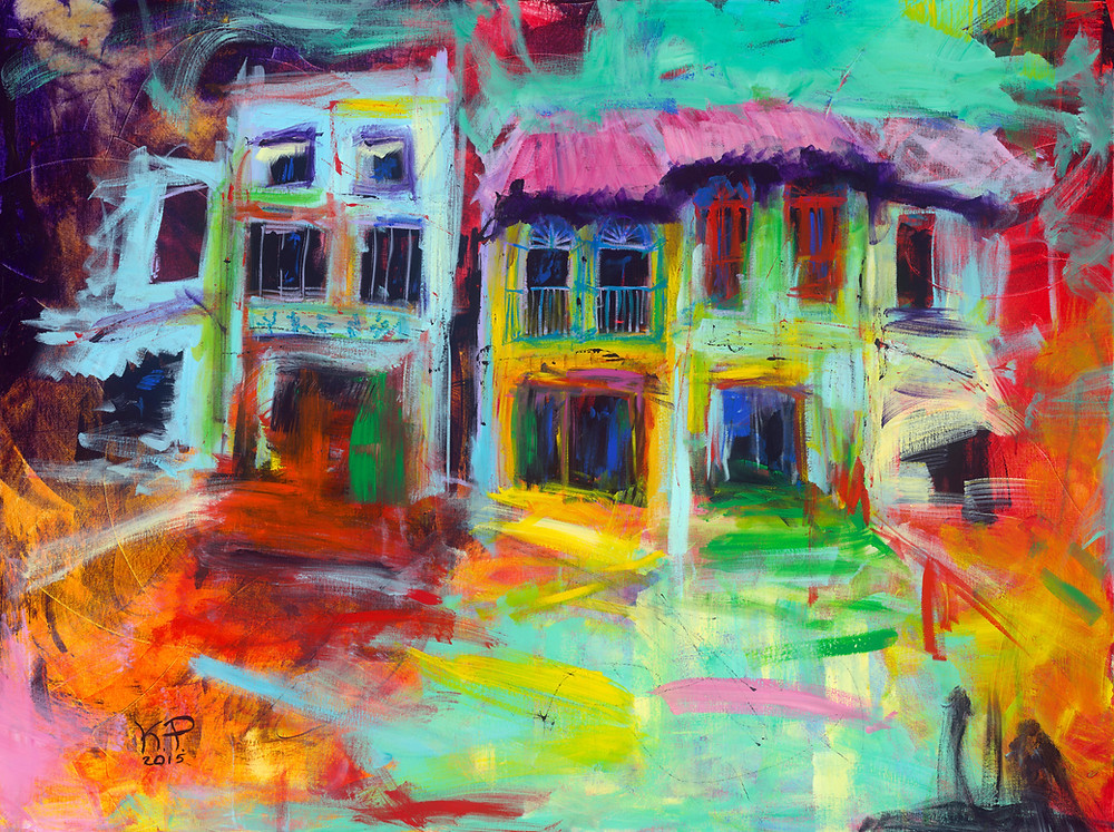 """""""Shophouses"""" painting is the first one of many shophouses paintings I have made. It is also available as a limited edition print. It was sold very quickly and soon after another Singapore shophouses canvas was commissioned from me. I found myself painting shophouses regularly and I discovered I really liked it. A shophouse is an architectural heritage typical in Singapore and a very popular artistic subject among expats living in Singapore."""