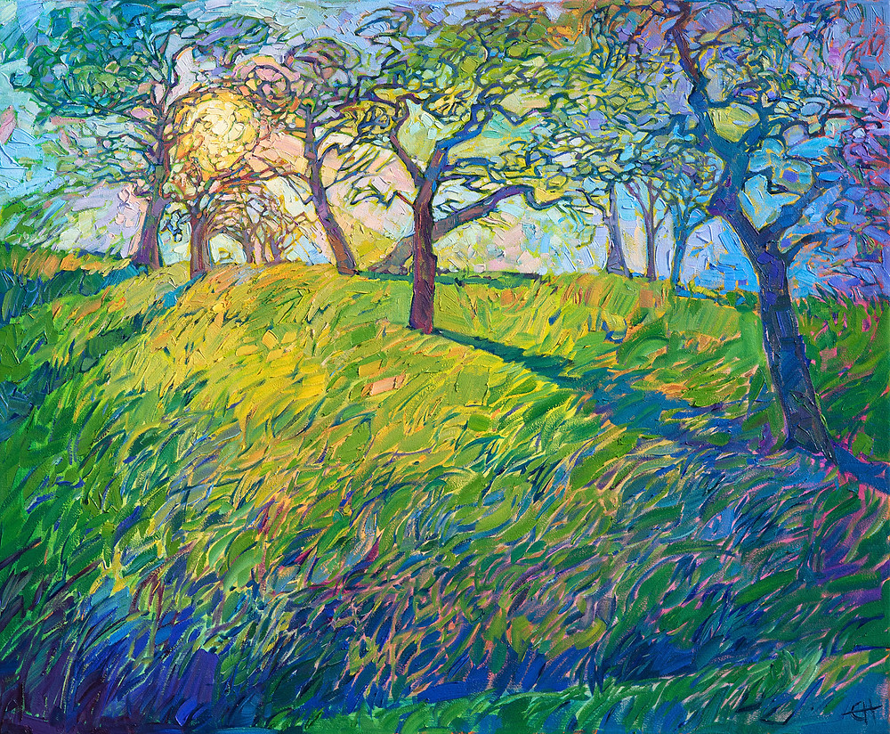 Emerald Shade - The coastal mists in Paso Robles, California, create beautiful light patterns among the oak trees in the early morning. The sun, still low on the horizon, casts long rays of refracted color across the landscape, transforming the hillside into a rainbow medley of color. The brush strokes in this painting are loose and impressionistic, capturing the movement of transient light.