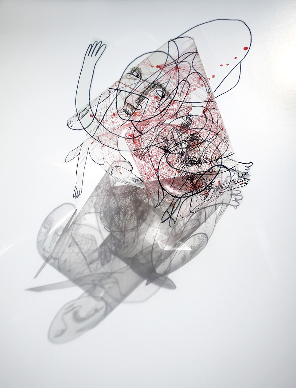 Web (2013). Screenprint on acrylic sheet, bent and folded. Photographed with shadow. Approx. 18 x 15 x 21cm