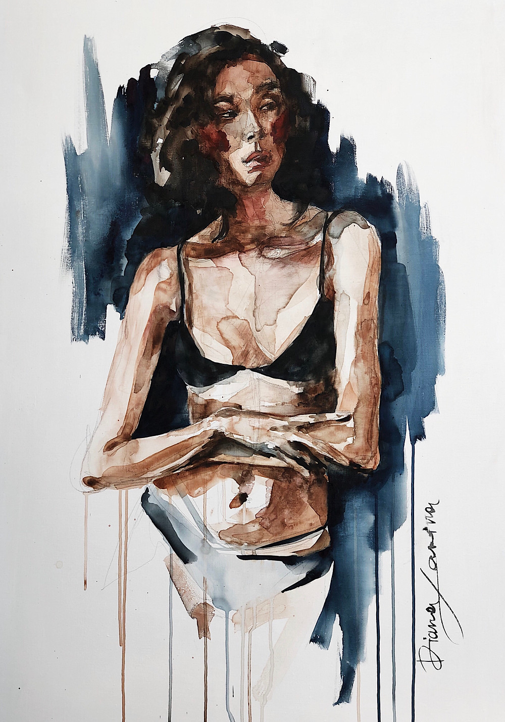 SHE  watercolor on canvas  80x120 cm