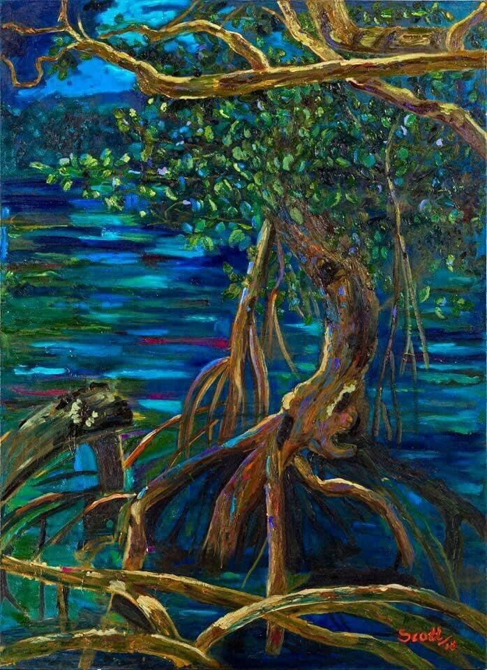 Cerro Azul I RacheBlue Moon Mangrove Rachelle Scott Oil on Canvas 90x100cm 2018lle Scott Oil on Canvas 120x150cm 2014