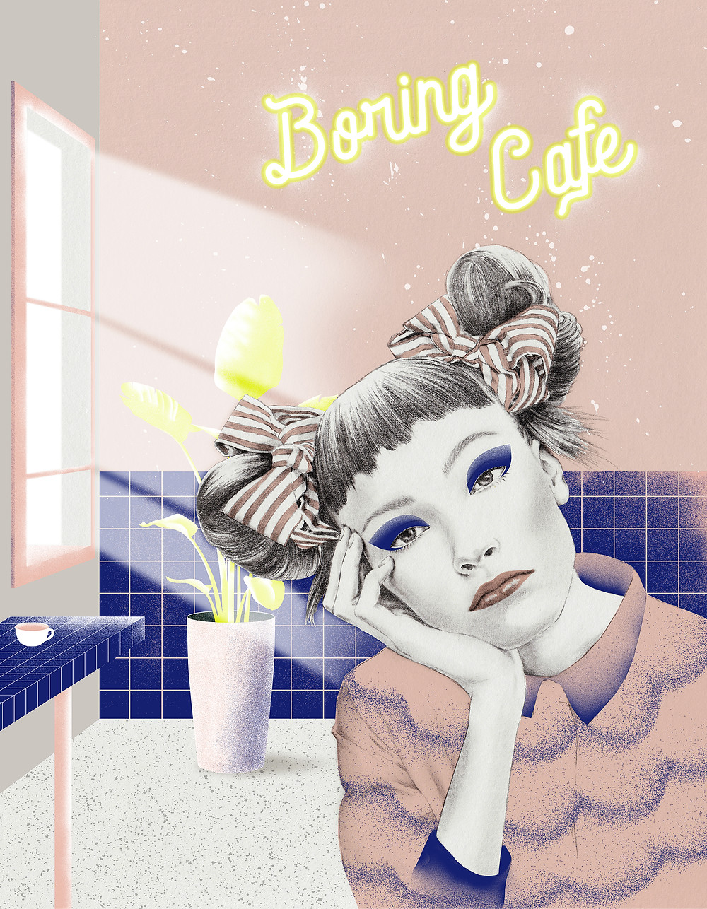 [ Boring Café ] The illustration explores the irony of being discontent in a seemingly perfect surrounding or lifestyle.