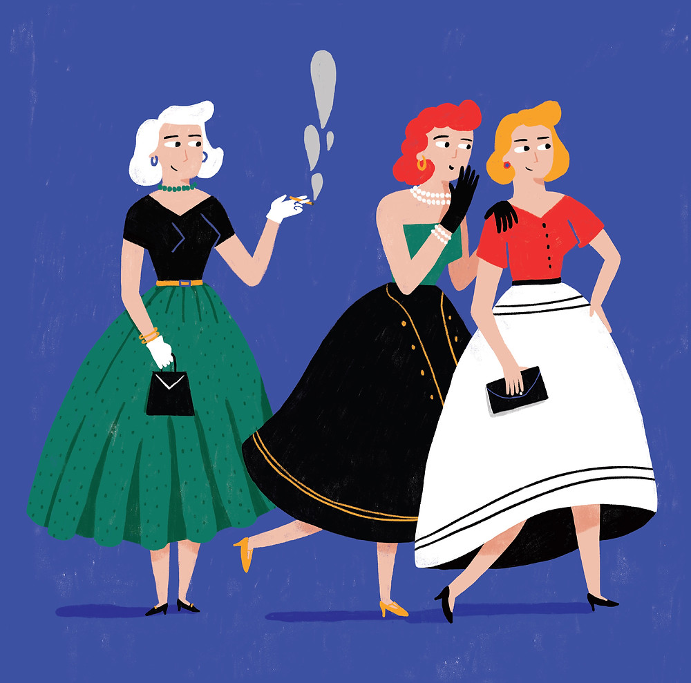 A graphic studio based in Milan has organized monthly a exhibition to discover the evolution of fashion and society through illustration.  My two illustrations represent the woman and the fashion of the 50s, with their clothes and hairs style.