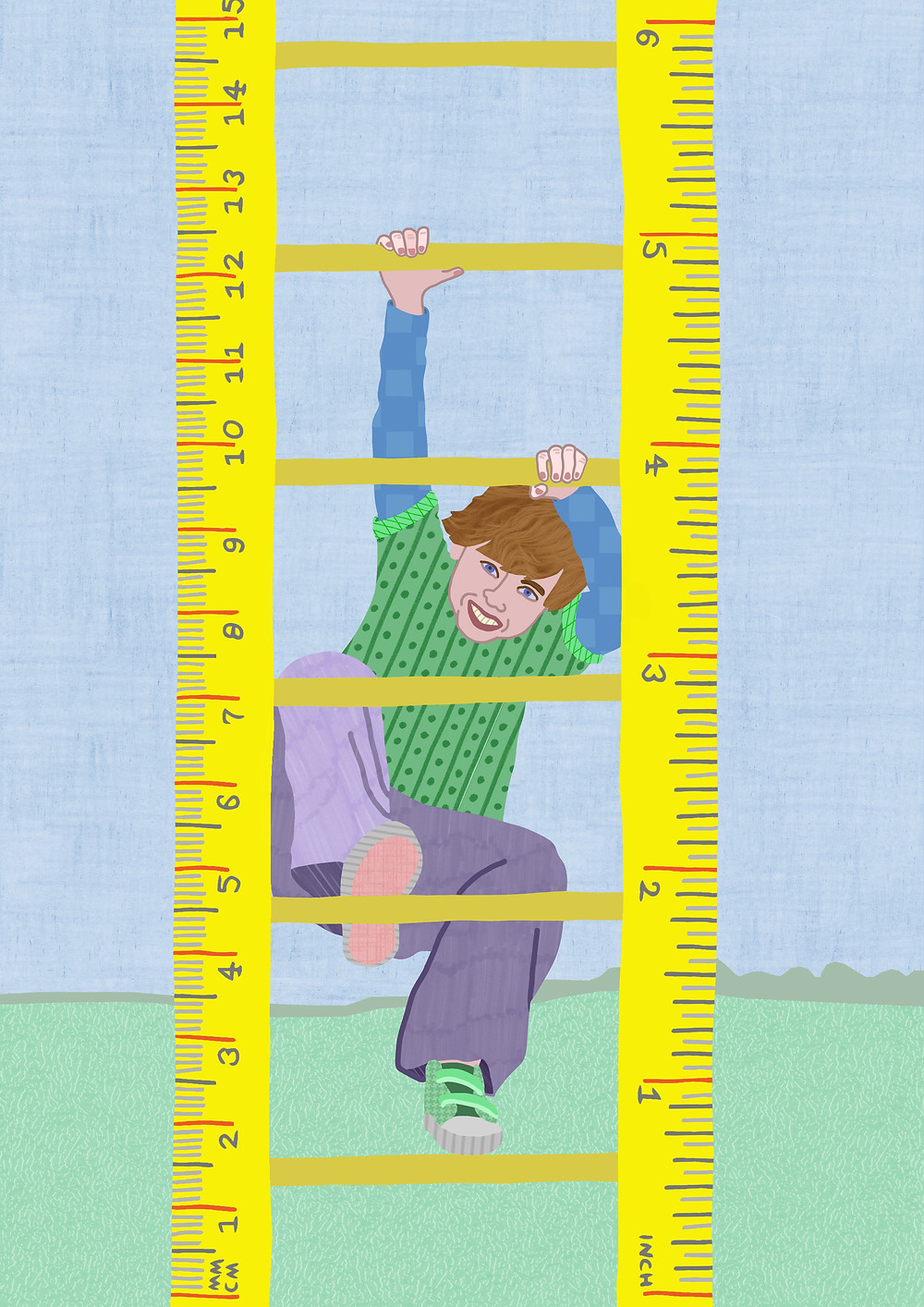 (Boy climbing ruler): This illustration was used by Dutch philosophy magazine Phronesis as their latest cover. The issue was about education and the main article argued that children's development can't and shouldn't be measured.
