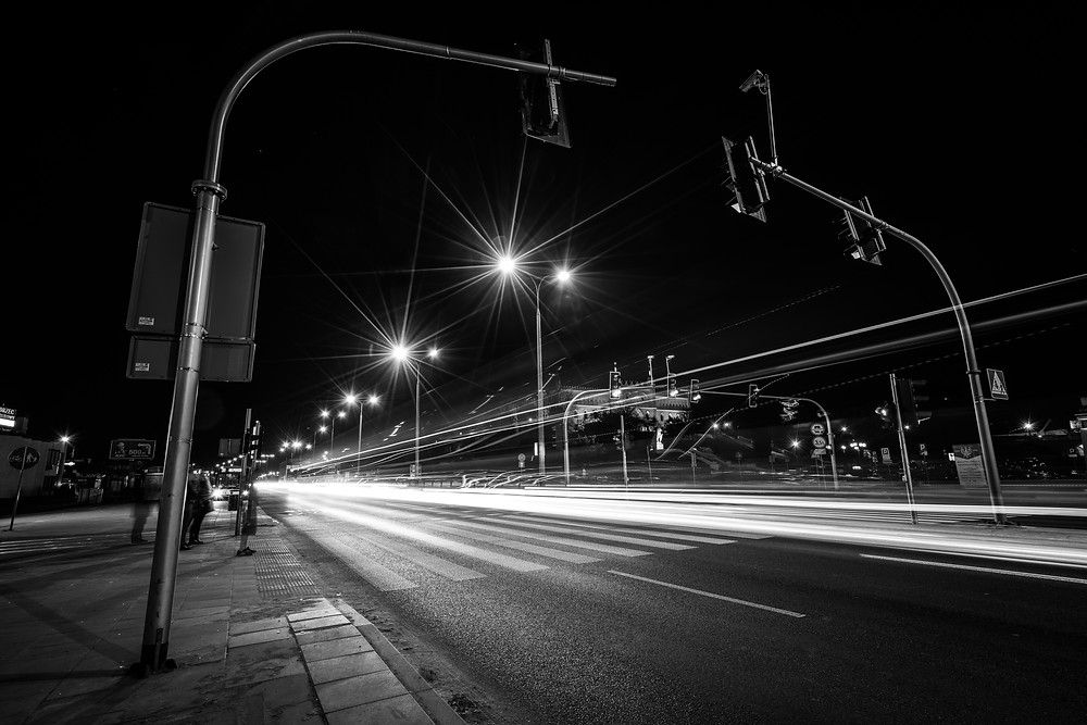 This photo was shoot in Lublin, somewhere nearby the Lublin Castle. With the sunstars of the street lights and the light trails, I changed this photo into B/W version to make the elements in this photo even more outstanding than the color version.