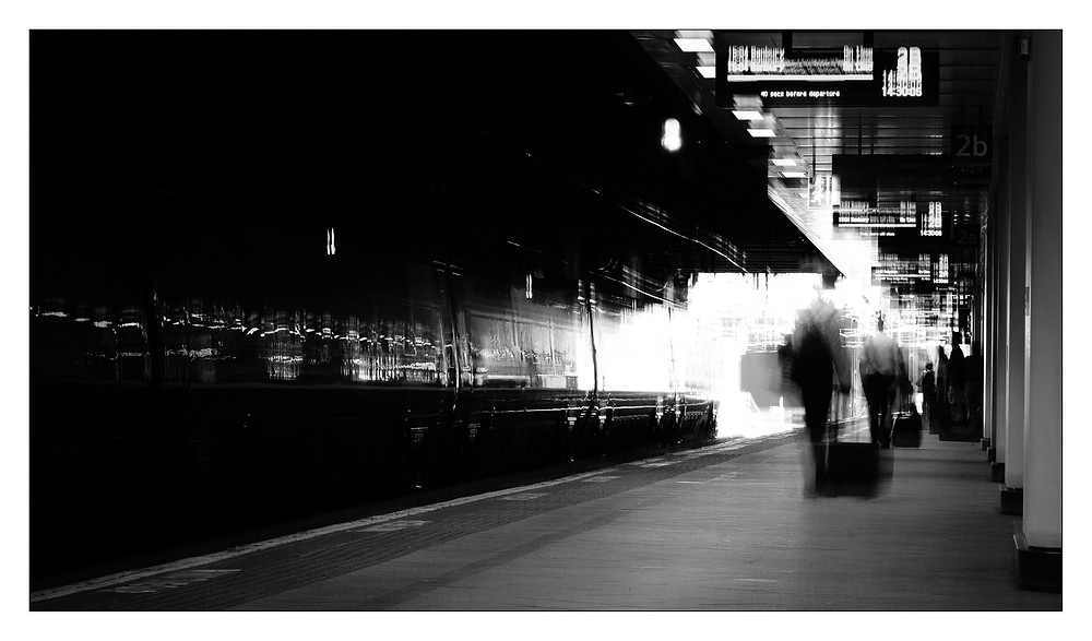 Moving - The effect of movement from passengers and camera shake taken at Birmingham New Street Station.