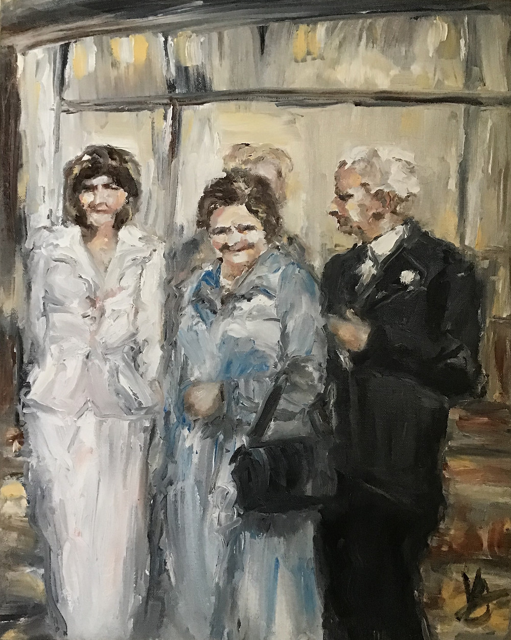 Reception. (oil on canvas, 20x16 inches/50x40 cm) - expressionistic oil painting on canvas. Various expressions/reactions to a reception - perhaps a wedding... 1970s or early 1980's depiction. Things are never as rosy as they appear, in particular upon closer inspection of the woman's expression on the far left.