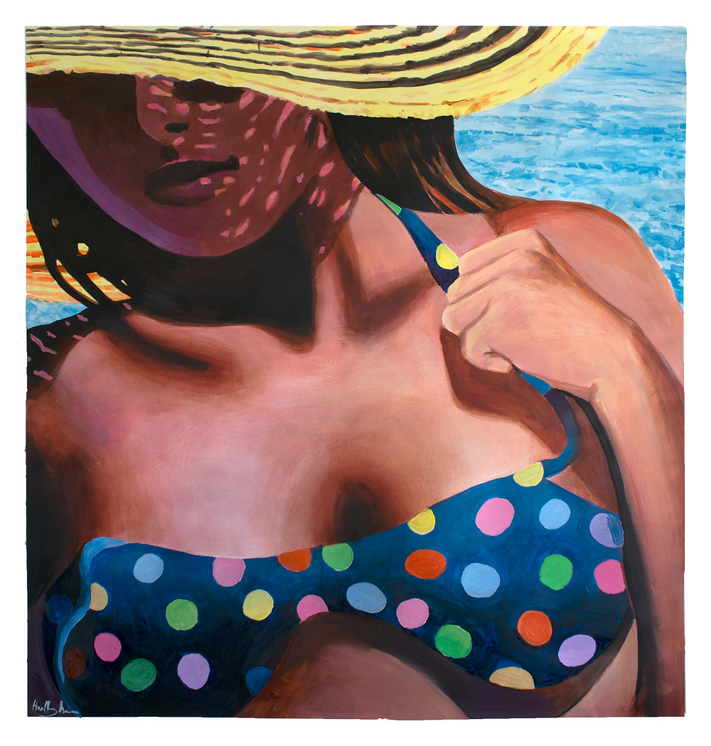"SUN HAT (Acrylic on Paper W46 x H48"")"