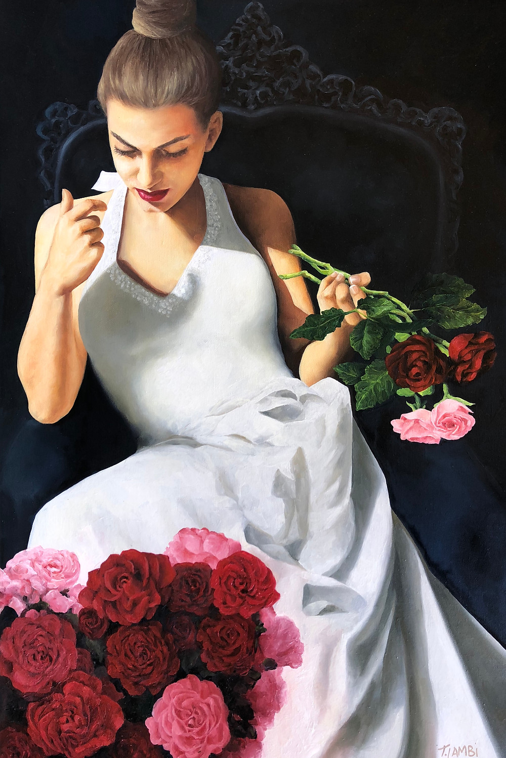 Dreams Grow Wild:  Old world charm and romance abound in this piece inspired by roses from my garden. My daughter models for me so a lot of love goes into my figurative painting.