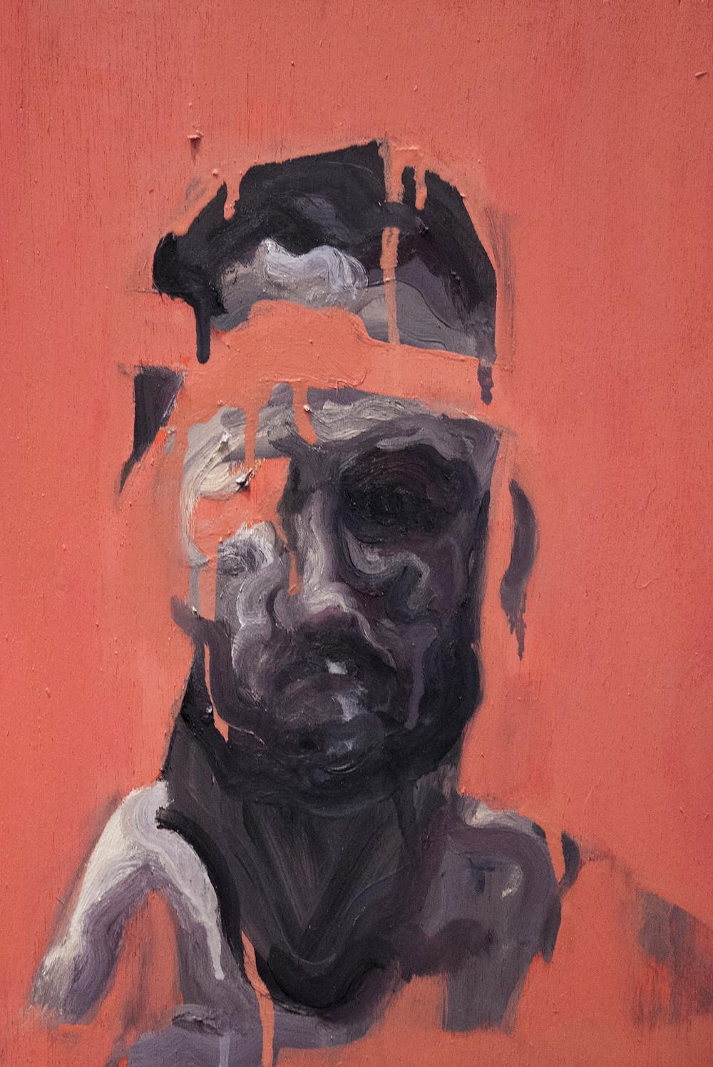 Funnel (Self Portrait) / Oil on Wood / 20 x 30 cm