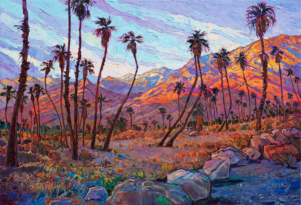 Coachella Dawn - Driving to the Indian Palm Canyons early one morning at dawn, I discovered an even more beautiful vista in the stark desert landscape around me. The gray and brown mountains and palms lit up suddenly in the first morning light, reflecting a glorious celebration of color that lasted about 20 minutes, until the sun hit the valley floor and the color washed away into the mid-morning.