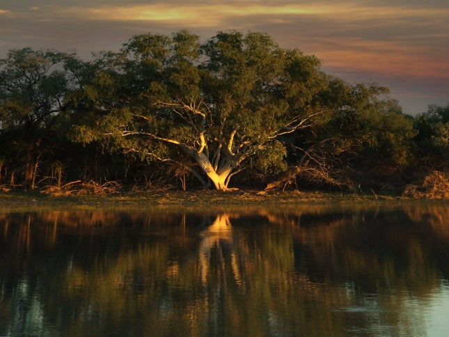 Longreach Waterhole a popular camping spot was captured at Elliot in the Northern Territory, Australia