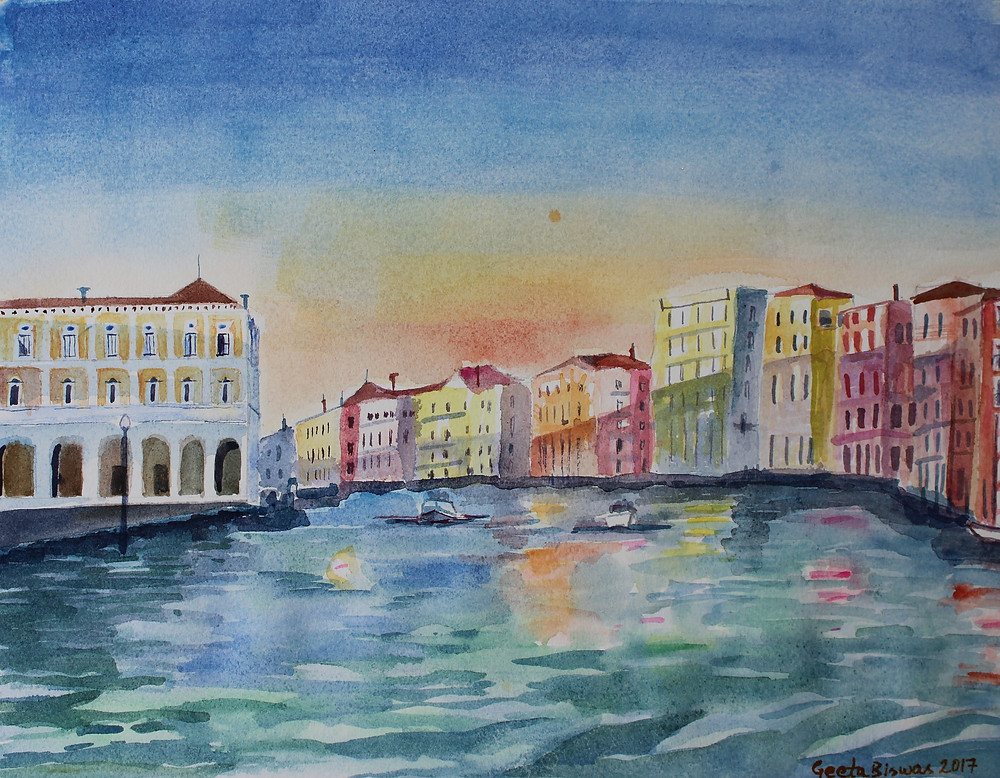 Grand Canal, Venice A classic view of Venice from the gondola ! This watercolor is from a photo reference taken while I was on a gondola ride on the grand canal during the evening few years back.   This will make a good souvenir art of Venice, Italy.