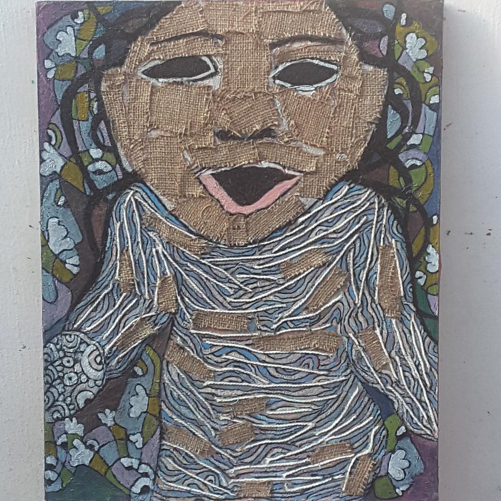 Corona girl, 50 x 40 cm, 2020, m.m.on canvas
