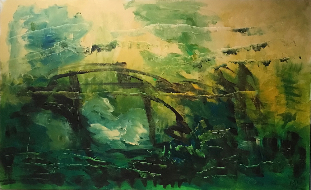 The old bridge, acrylic on canvas 90-145cm