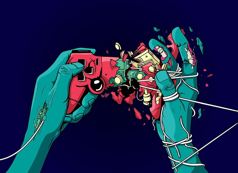 'Controlled' - Video Game controller that 'holds' when held. What is in control in this situation?