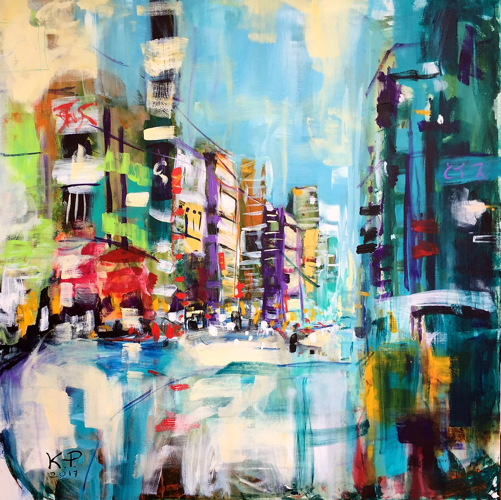 """""""Chuo Dori"""" painting comes from my Tokyo collection. Chuo Dori is the main shopping street that runs through Ginza, one of the main city's business districts. During my 2 years staying in Tokyo I used to work there, meet friends and go shopping. I have a lot of great memories attached to this place. Chuo Dori is busy, vibrant and full of life. I hope that it comes across in this painting."""