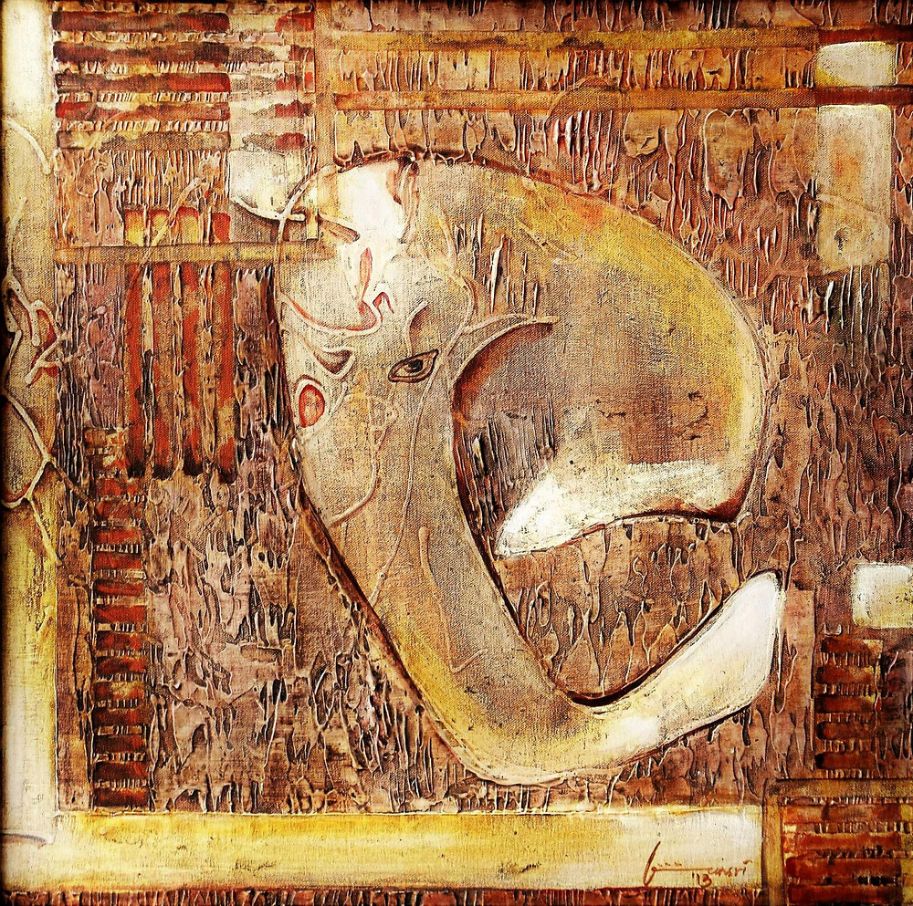 """OMKARA,  This is an artwork depicting THE ELEPHANT GOD - known as Ganesha in Vedic Hindu Mythology. The artist describes her process of making this artwork as follows- in bansri's words  """"OMKARA- The lord with the form of OM, OM,,,, the primordial sound! Sonic energy has a great impact, it is about not that what is said but HOW it is said, a baby when an infant, responds to the tone of how you address he or she, OM - IS THAT ENERGY! While I was receiving these forms of Ganesha that I have painted,, I was may be doped in that Ganesha energy,,, I could see the simplistic form of the Lord in shadows, folds of fabric, in my mind, and more .... My son was 2.5 years,,, when I painted my Ganeshas, as a small  exercise of surprise I used to give him pencil every day as many times he wanted to, the fact that he could hold and scribble used to delight me, there were two scribbling which were like.... OHHH,,, THESE ARE GANESHAS! and I wanted to preserve them,, I got his scribbles enlarged and worked over them. This form is the attribute of the Lord as a manifestation of the divine sound OM!"""""""