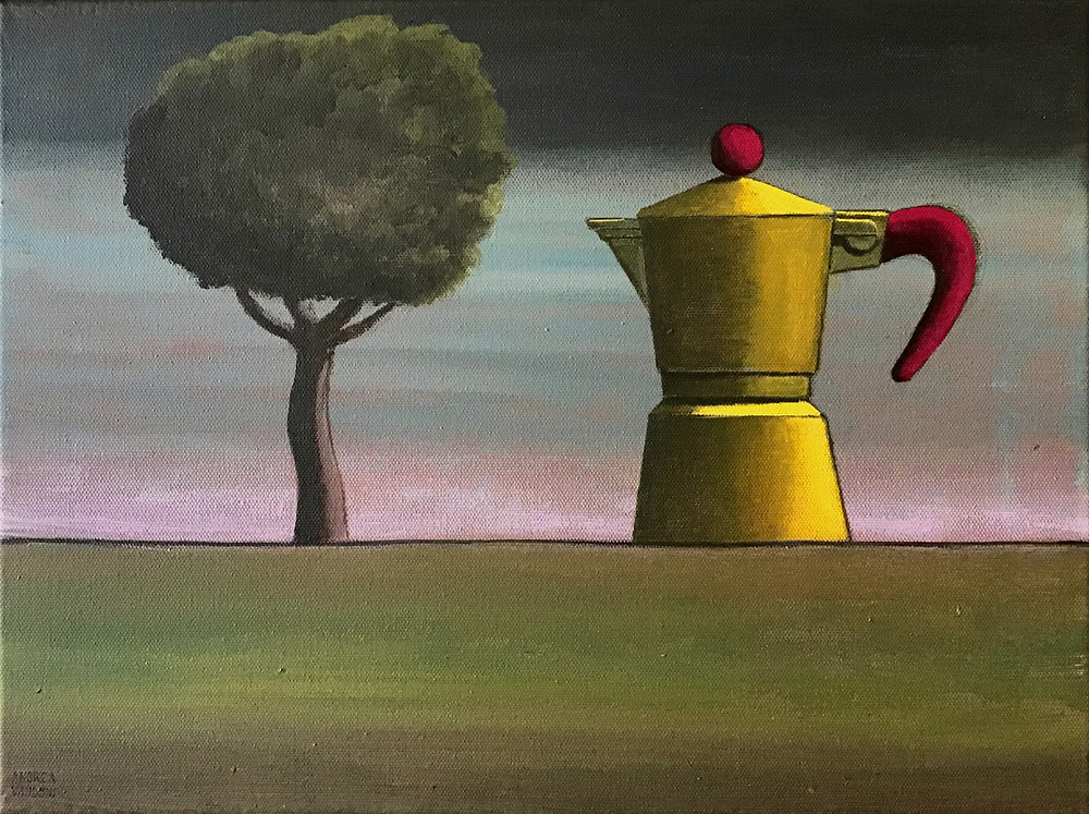 THINGS ON THE HORIZON, 2019. Collection: coffee pots Acrylics painting on canvas, 40 cm x 30 cm
