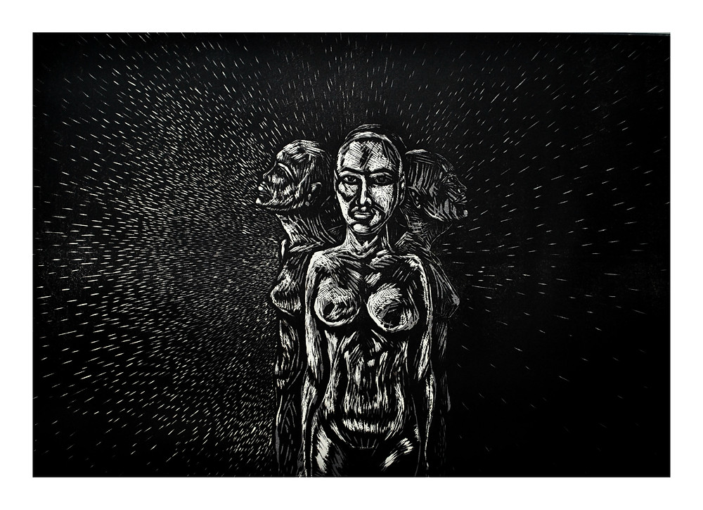 It is an original woodcut print with limited editions. This work depicts that human nature is not just black or white, as often expected, but rather a spectrum. Each person has elements of light and darkness that co-exist within them. Understanding this can not only lead to better self-acceptance and but also help change these misplaced expectations in our society.