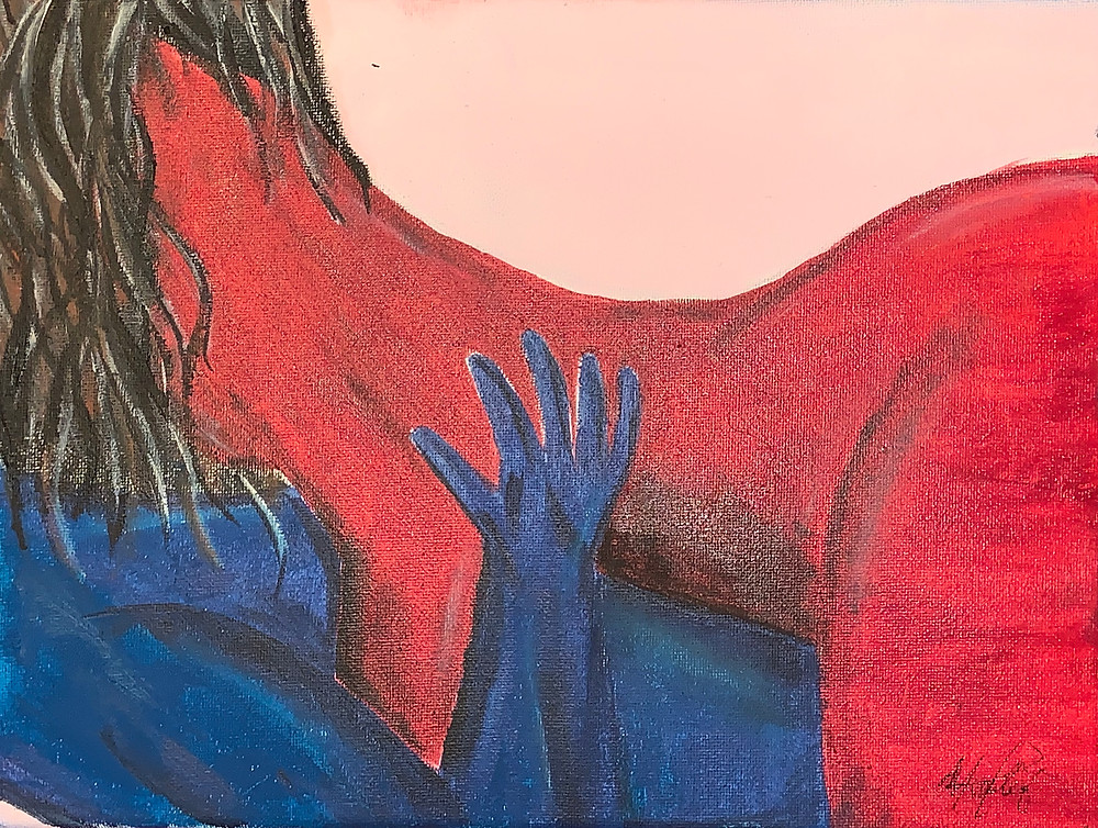 """Love takes time"" (Oct,2018) 23x30m This is the start of the relationship when they are getting intimate for the first time. The red represents the the passion & seduction while the blue represents the calm & lovable part."