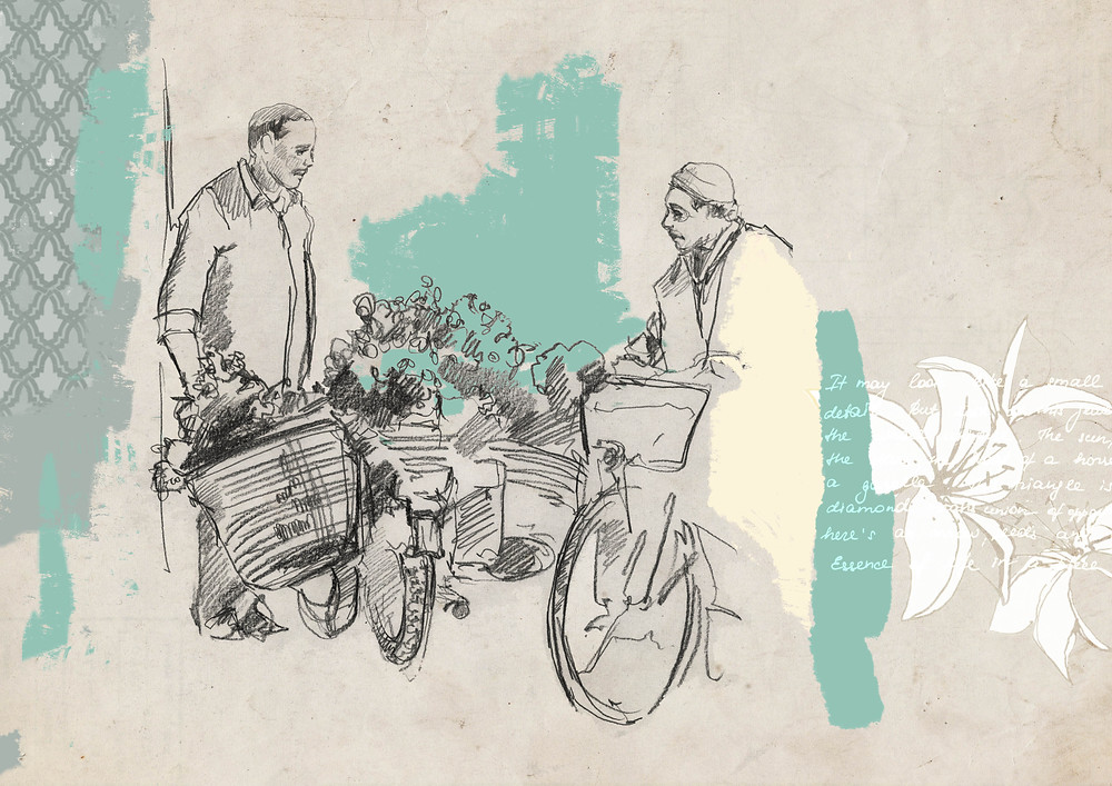 One of the illustrations I made for my personal project, a drawn reportage about Marrakesh (book). Mint, cumin, saffron, cinnamon, turmeric, pepper, cedar wood and orange blossom – the old city, Medina, hypnotizes you with an intoxicating mixture of fragrances and colors.