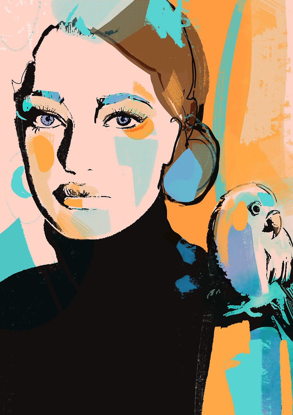 In my work I try to find out a perfect combination between abstract shapes and lines, unusual textures und bold colors.  This portrait was inspired by vibrant shades of tropical birds. A colorful parrot sitting on the girl's shoulder symbolizes here an enchanted world of dreams we always chase for.