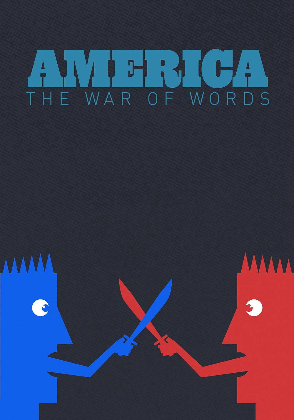 America the war of words.  This illustration represents the divide and ideological battle between the left and right wing political parties in America today.