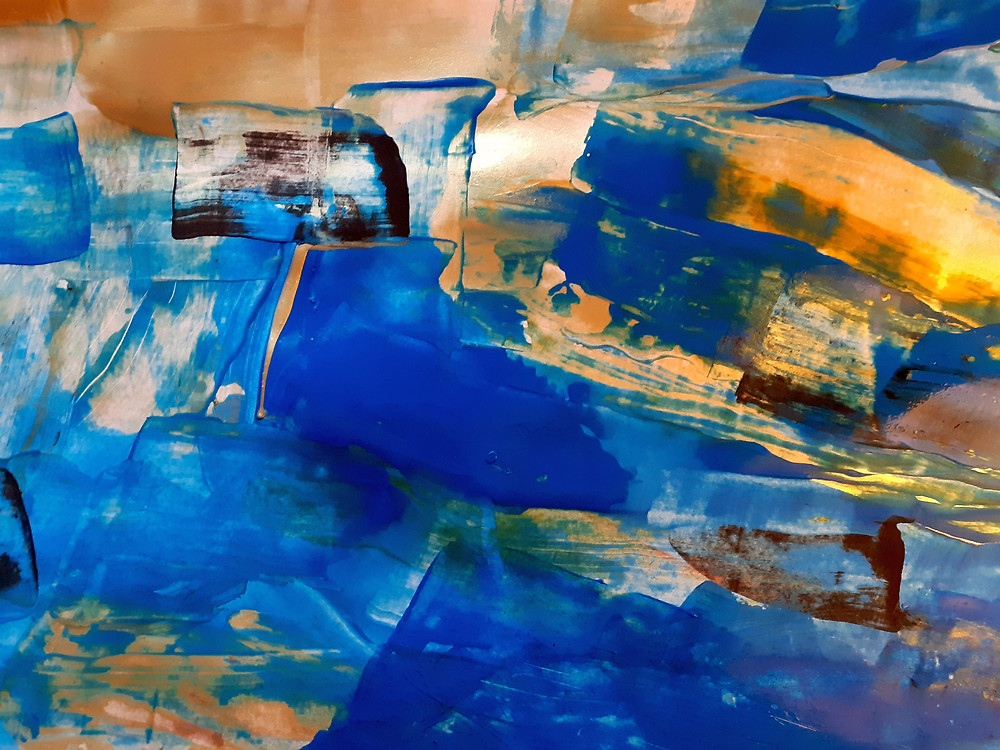 """""""l'aube I"""" From the series """"galerie bleu"""" Acryl painting on paper"""