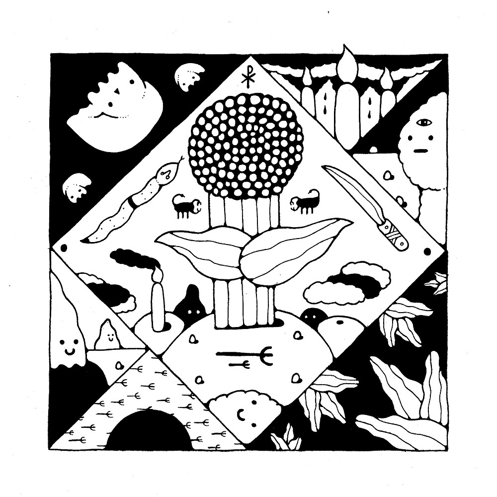 Title: The Plant Gods Give and Take   Medium: ink and paper   Size: 20cm x 20cm   Date Created: 2019  About: I tried to make a plant into a God.  It is worshiped.  The Plant God gives life and takes life away. It also enjoys the sacrifice of snakes……it's a pretty messed up plant.