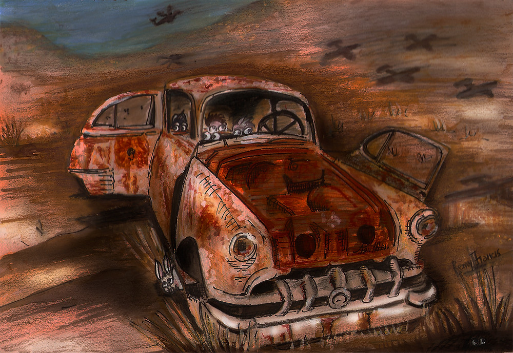 This desert scene is a reminder of civil unrest happening in the middle-eastern countries where citizens need to be watchful of invaders and surveillance aircrafts is common, The artist particularly enjoyed painting the rusted remains of an abandoned car.